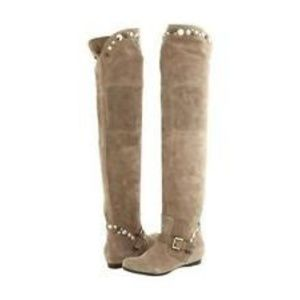 Apepazza Gemma Over Knee Suede Studded Boots